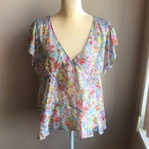 Anthropologie Sundance silk  blouse Sz 16